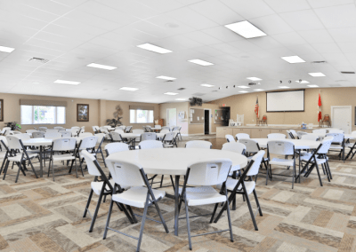 Clubhouse Interior with Tables and Chairs